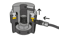 Hydraulic pressure is applied to the tensioner from a tensioning pump.